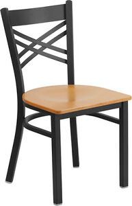 Restaurant Metal Chair Cross Back Natural Wood Seat Lifetime Frame Warranty