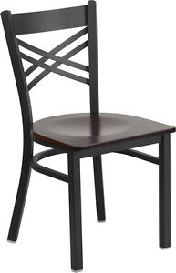 Restaurant Metal Chair Cross Back Walnut Wood Seat Lifetime Frame Warranty