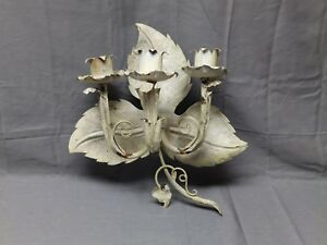 Vtg Tin Tole Leafy Triple Candle Sconce Old Shabby Cottage Chic Fixture 2074 16