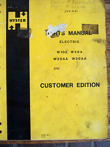 Hyster Electric Forklift Parts Manual W10a W20aa W30a W30aa 01 75 Lot 708
