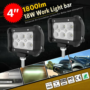 2pcs 4inch 18w Led Flood Beam Work Light Bar Driving Suv Atv Ute For Jeep Truck
