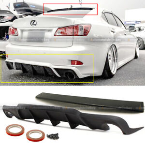 For 06 12 Is250 Is350 Unpainted Vip Style Roof Spoiler W Style Rear Diffuser