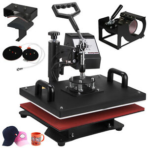 5in1 Heat Press Machine Digital Transfer Sublimation T shirt Hat Plate Cap
