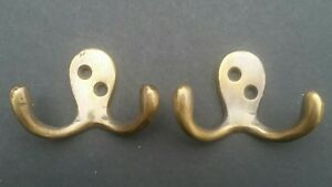 2 Small Double Coat Hat Hooks Solid Brass Antique Vintage Style 2 1 2 C1