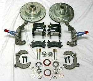Mustang Ii 2 Drop Front Disc Brake Kit Blk Wilwood Calipers Slotted Ford Rotors