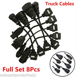 8x Obd2 Obdii Full Set Diagnostic Tool Adapter Truck Cables Pack For Autocom Cdp