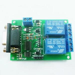 Dc 12v 2ch Rs232 Db9 Serial Relay Control Switch Uart For Pc Home Automation