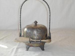 Antique Victorian James W Tufts Silverplate Covered Butter Dome Etch Woman Cow