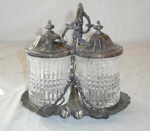Antique Victorian James W Tufts Double Eapg Pickle Caster Holds 6 Forks Cherries