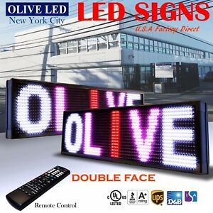 Olive Led Sign 3c Rwp 2face 15 x40 Ir Programmable Scroll Message Display Emc