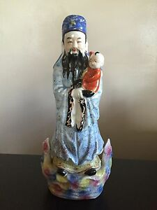 Fine 19th 20th C Chinese Porcelain Famille Rose God Statue Child Art Signed