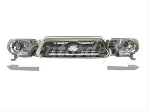For Toyota 2012 2015 Tacoma Grille Chrome Gray Headlight Filler 5pc