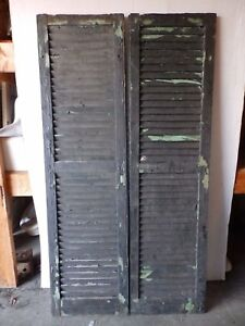 Pair Antique Shutters Door Window Louvered Vintage Painted Old 17x63 2234 16