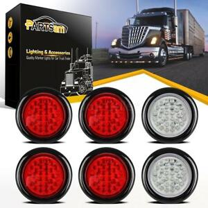 4 Inch 30 Led Round Stop Turn Tail Brake Backup Truck Lights Kit 4 Red