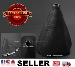4 Seams Black Pvc Carbon Texture Shifter Shift Gear Knob Boot For For Toyota