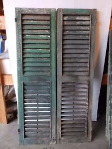 Pair Antique Shutters Door Window Louvered Vintage Heavy Old 17x62 2252 16