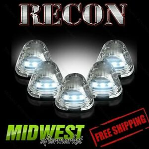 Recon Clear Cab Roof Lights With White Leds Ford 1999 2014 F250 F350