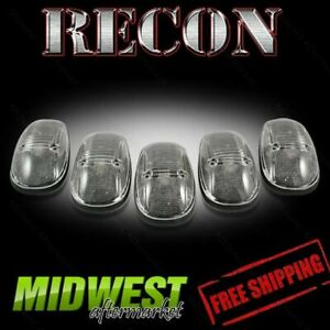 Recon Smoked Cab Roof Lights With Amber Leds 99 01 Dodge Ram 1500