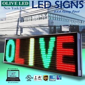 Olive Led Sign 3color Rgy 19 x52 Pc Programmable Scroll Message Display Emc
