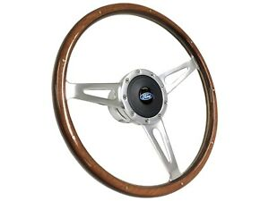 1968 1991 Ford Classic Wood Steering Wheel Kit Ford Blue Oval Emblem