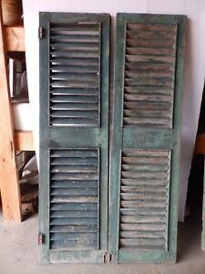 Pair Early Antique Shutters Door Window Louvered Vintage Heavy Old 17x62 2261 16