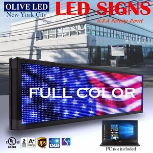 Olive Led Sign Full Color 12 x41 Programmable Scrolling Message Outdoor Display