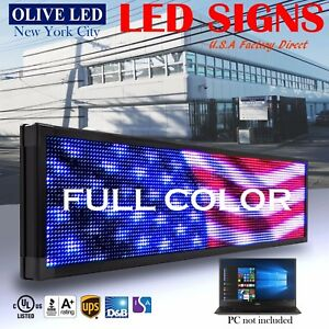 Olive Led Sign Full Color 21 x60 Programmable Scrolling Message Outdoor Display