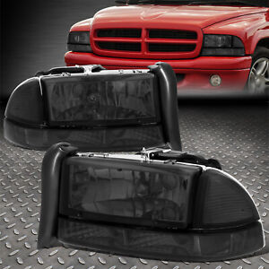 For 97 04 Dodge Dakota Durango Smoked Housing Clear Corner Headlight Bumper Lamp