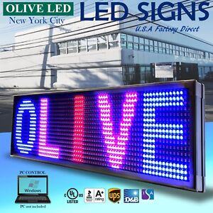 Olive Led Sign 3color Rbp 19 x52 Pc Programmable Scroll Message Display Emc