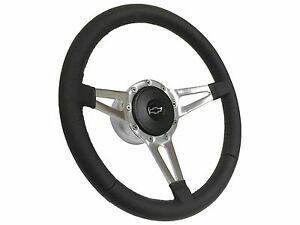 1957 1968 Chevy S9 Sport Steering Wheel Silver Bow Tie Kit Slotted 3 spoke