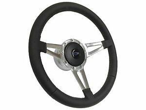 1957 1968 Chevy S9 Leather Steering Wheel Blue Bow Tie Kit Slotted 3 Spoke