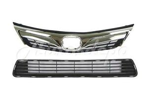 For 2012 2014 Camry Le Xle Grille Chr Blk Front Bumper Lower Grille Center 2pc