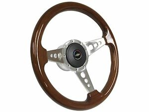 1957 1968 Chevy S9 Walnut Steering Wheel Tri Color Bow Tie Kit 3 Spoke Holes