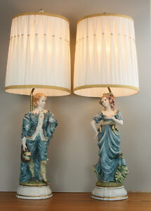 Hollywood Regency Pair Large Capodimonte Lamps Azzolin Brothers Italy 1964