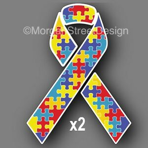 Set Of Two Autism Awareness 3 Ribbon Vinyl Decal Sticker Car