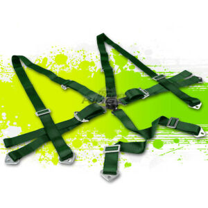 Green 3 Adjustable Strap Racing Seat Belts belt Safety Harness 6 Point Camlock