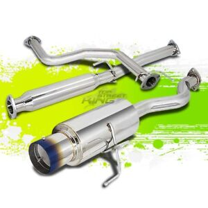For 96 00 Honda Civic 3dr Hb 4 5 Burnt Tip Stainless Steel Catback Exhaust Kit