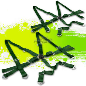 2x Green 3 adjustable Strap Racing Seat Belts belt Safety Harness 6point Camlock