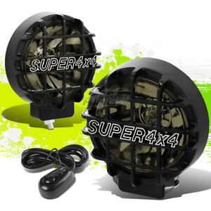 6 Round Black Body Smoked Fog Light Offroad Super 4x4 Guard Work Lamp Grille