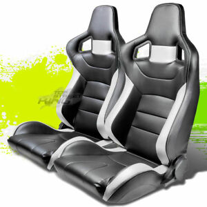 Reclining Black white Stripe Pvc Leather Bucket Racing Seats sliders Rail Pair