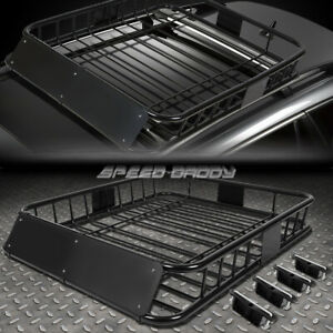 48 x 40 mild Steel Roof Rack Top Cargo Luggage Carrier Basket wind Fairing Black