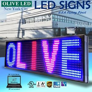 Olive Led Sign 3color Rbp 22 x60 Pc Programmable Scroll Message Display Emc