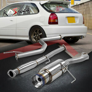 Stainless Catback Cat Back Exhaust System For 96 00 Honda Civic 3dr Burnt Tip