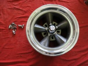 Vintage Single Polished Lip 15x7 Torque Thrust Style 5on5 5 1 2 Chevy Ford