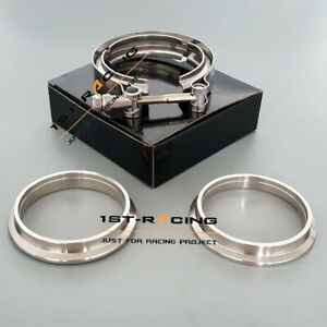 4 102mm Turbo Downpipe Exhaust Stainless 304 V band Clamp 2 Flanges m8 Bolt