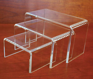 Acrylic Beveled Edge Display Riser Merchandise Store Fixture Clear Set Of 3 New