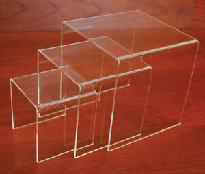 Plexiglass Small Riser Merchandise Store Display Fixture Clear Set Of 3 New