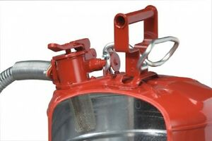 Steel Gas Can 5 Gallon Galvanized Red Flexible Spout Fuel Tank Safety Metal