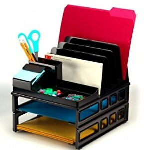 Desktop Office Trays Supplies Letter Sorter Paper Folders Black Storage Organize