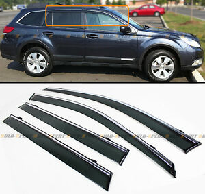 For 2010 14 Subaru Outback Clip On Smoke Tinted Side Window Visor W Chrome Trim